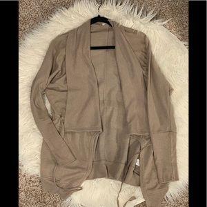 Drape front open sweatshirt